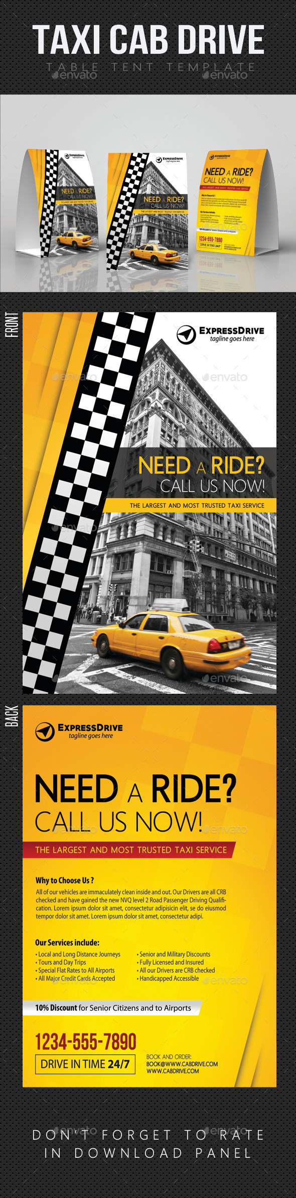 GraphicRiver Taxi Cab Drive Table Tent V02 11932367
