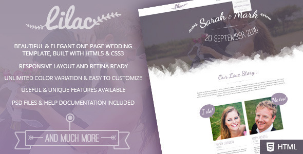ThemeForest Lilac- Responsive One-page HTML5 Wedding Template 11877936