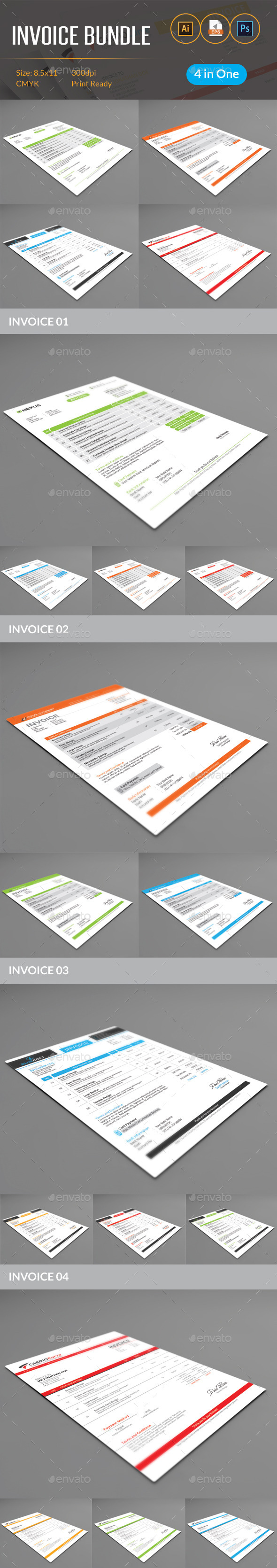 GraphicRiver Invoice Bundle 11932629