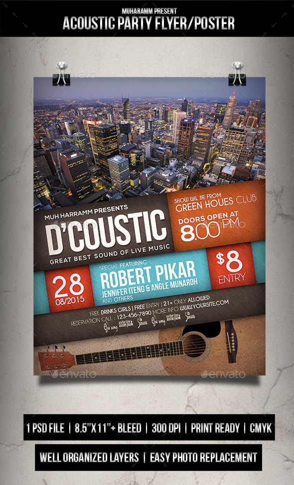 GraphicRiver Acoustic Party Flyer Poster 11932192