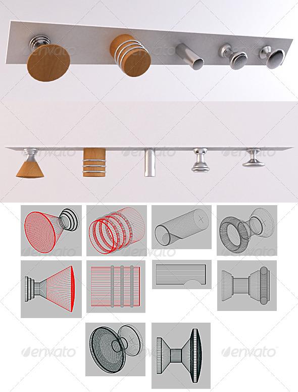 SET 02 - Furniture Handles - 3DOcean Item for Sale