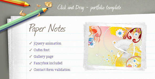 Paper Notes Portfolio Template - theme preview screenshot