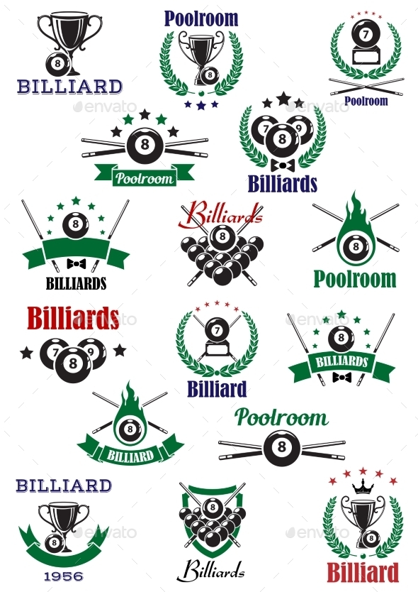 GraphicRiver Billiards Snooker And Pool Emblems 11934113