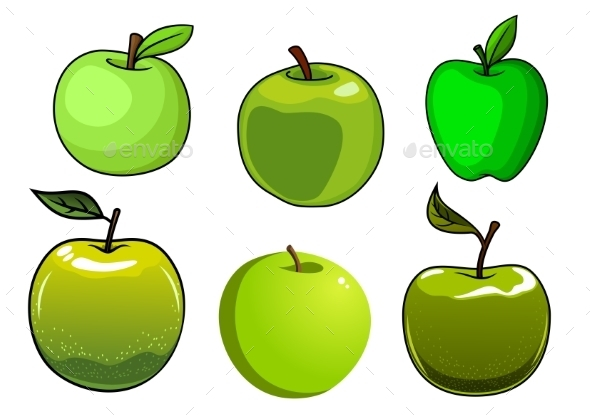 GraphicRiver Fresh Green Apples Fruits Set 11934115