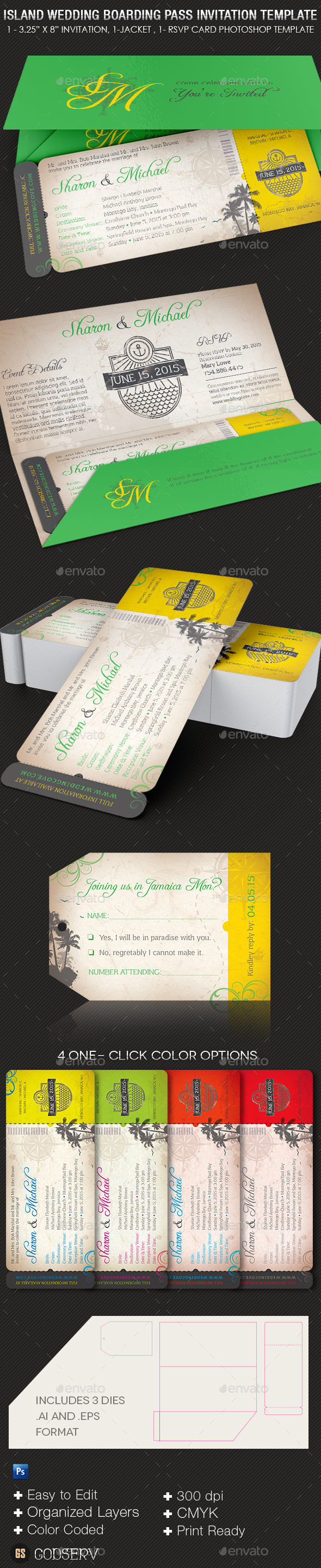 Island Wedding Boarding Pass Invitation Template