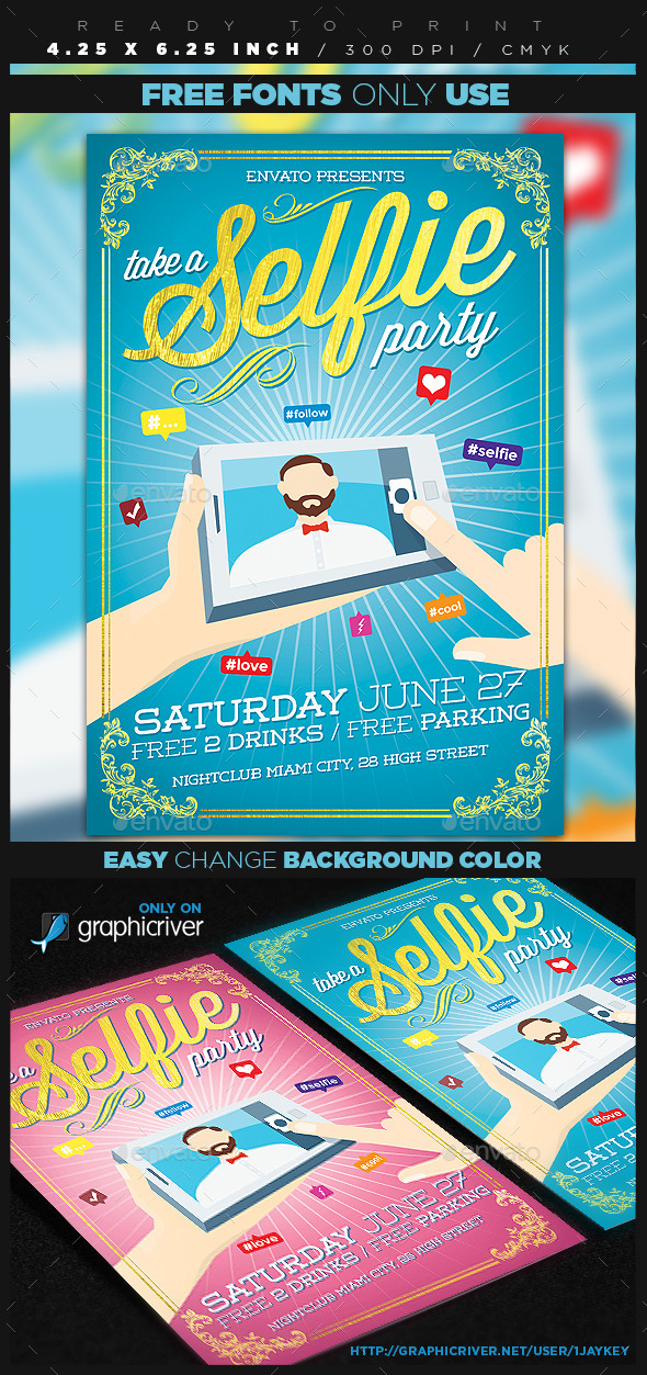GraphicRiver Selfie Party Flyer 11935565