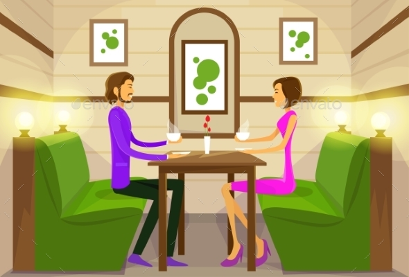GraphicRiver Couple Sitting Cafe Table Drink Coffee Romantic 11936237