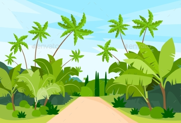 GraphicRiver Jungle Forest Green Landscape With Road Path 11936532