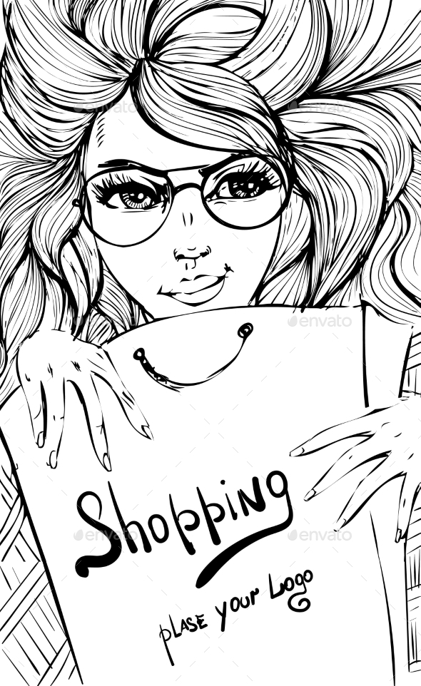 GraphicRiver Vector Fashion Shopping Girl 11937457