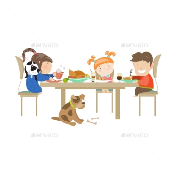 GraphicRiver Illustration Of Children Eating On a White 11937504