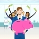 Business People Team Hold Piggy Bank Put Money - GraphicRiver Item for Sale