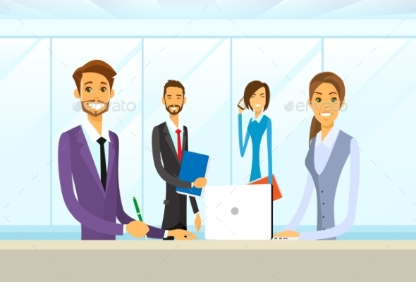 GraphicRiver Business People Group Sitting At Office Desk Flat 11937517