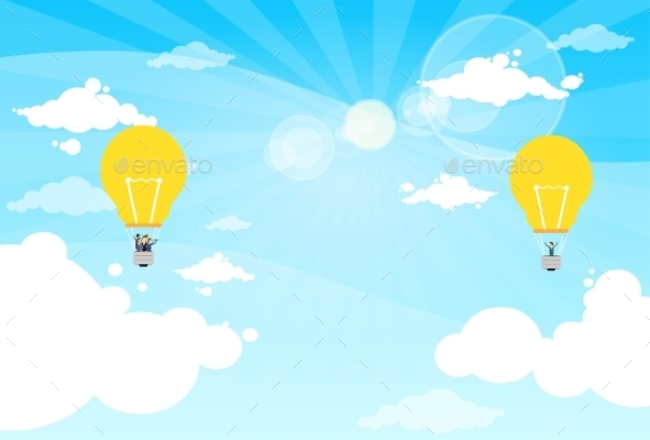 GraphicRiver Business People Group Fly Air Balloon Light Bulb 11937593