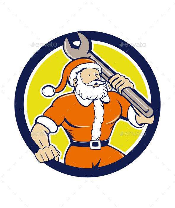 GraphicRiver Santa Claus Mechanic Spanner Circle Cartoon 11937701
