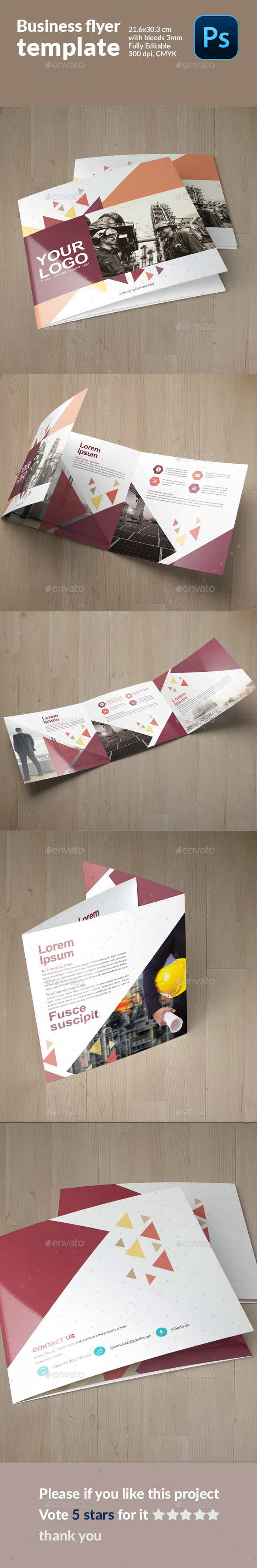 GraphicRiver Square Cool Modern Geometrical Trifold 11928285