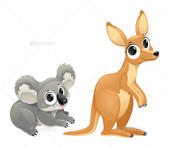 GraphicRiver Funny Marsupials Koala and Kangaroo 11937992