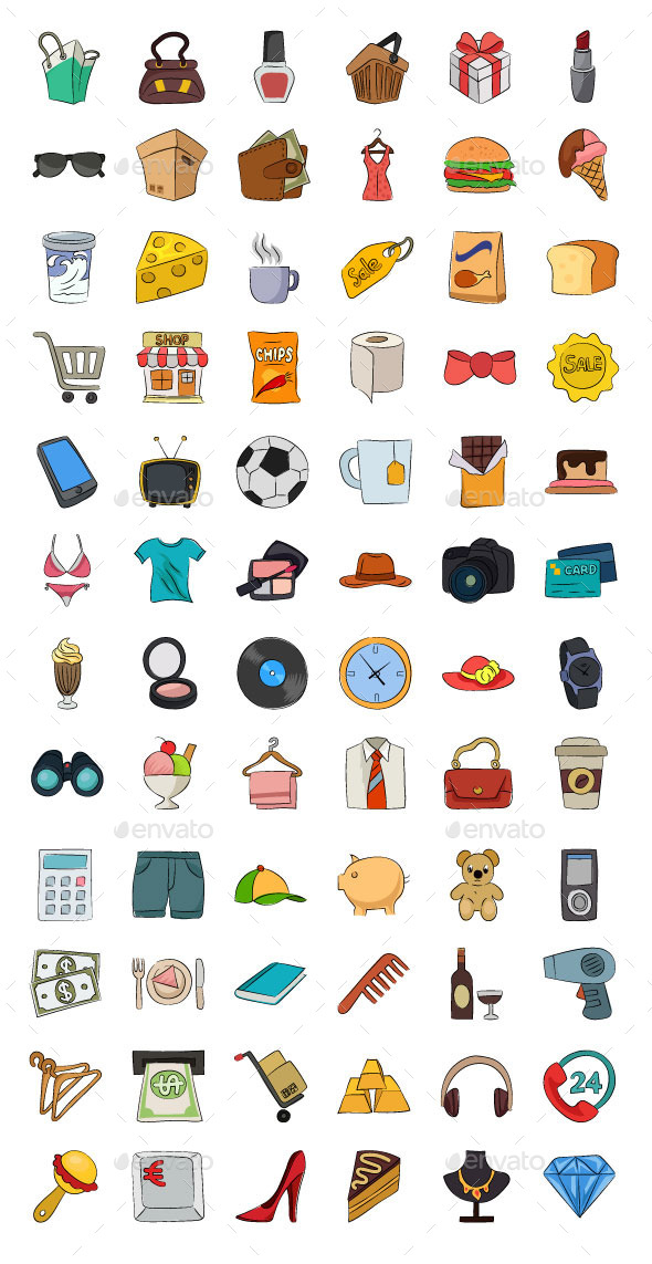 GraphicRiver Shopping Hand Drawn Vector Icons 11938259