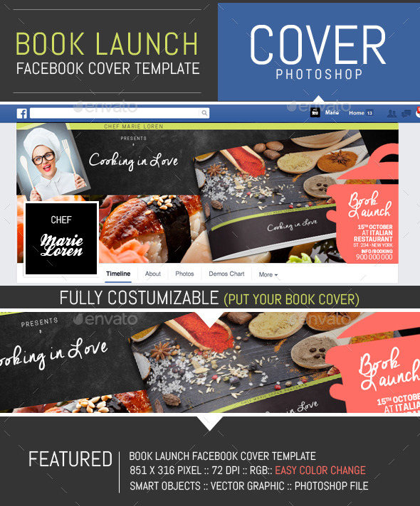 GraphicRiver Book Launch Facebook Cover Template 11938520