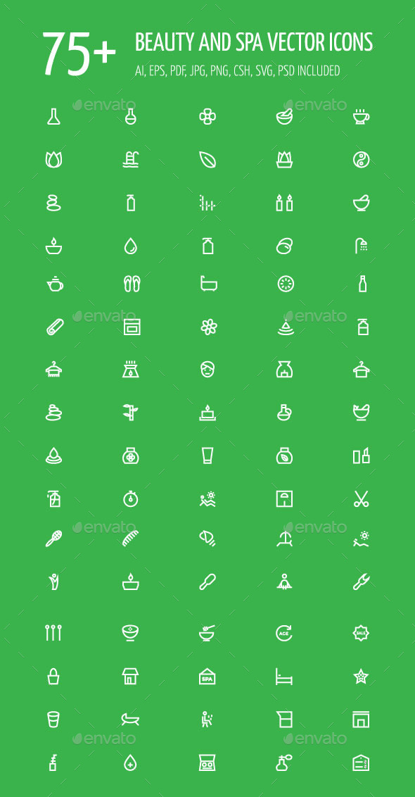 GraphicRiver 75& Beauty and Spa Vector Icons 11938851