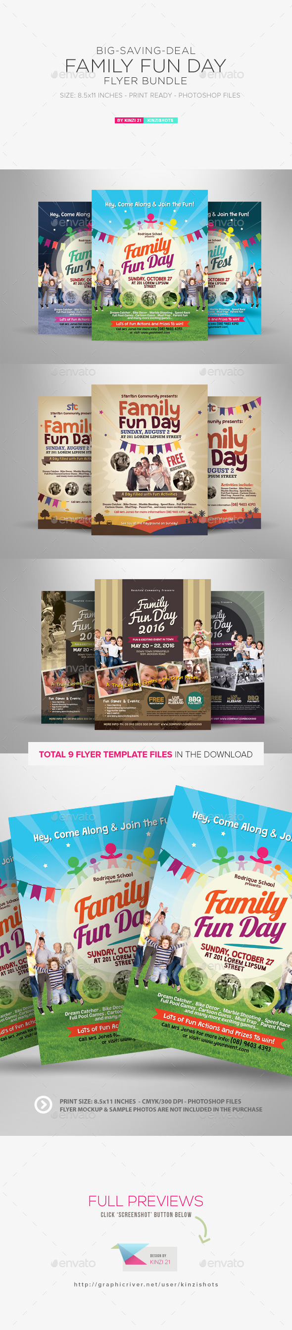 GraphicRiver Family Fun Day Flyer Bundle 11934321