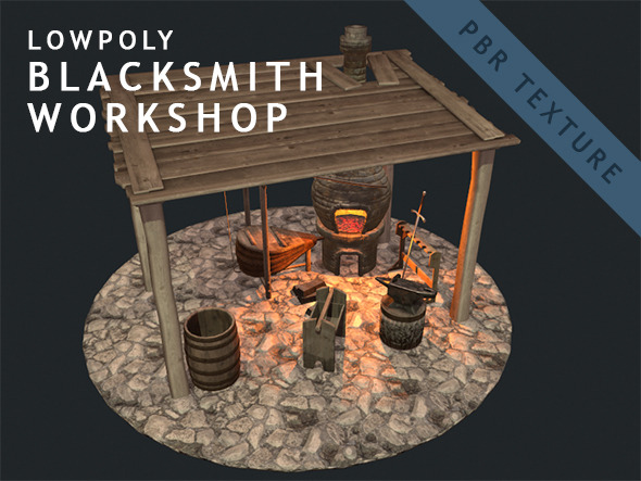Low Poly Blacksmith Workshop (PBR) - 3DOcean Item for Sale