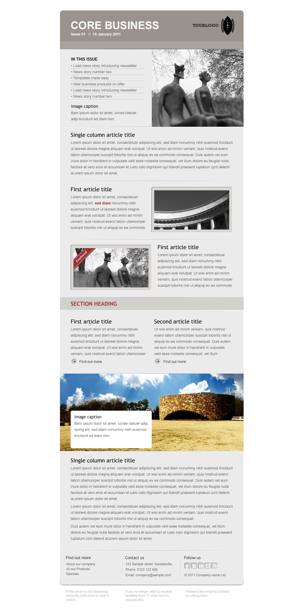 Core Business - Full newsletter template on white