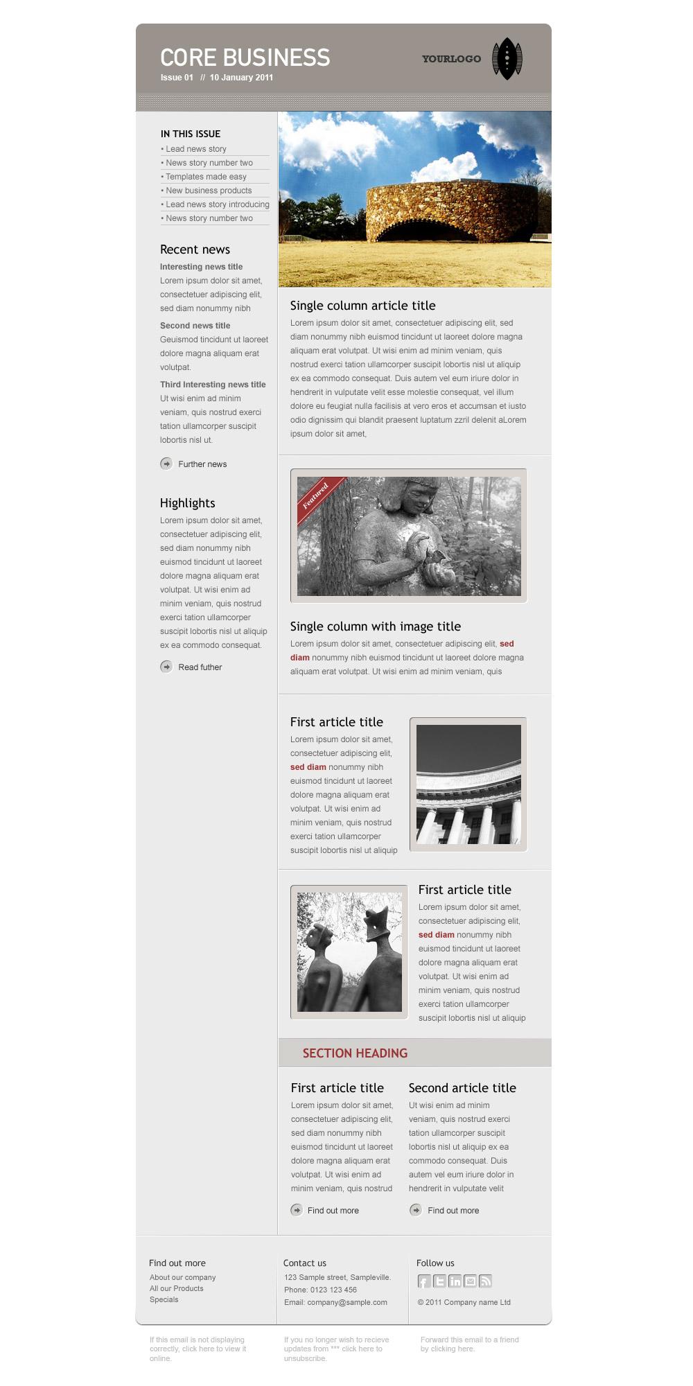Core Business - Full newsletter with left column on white