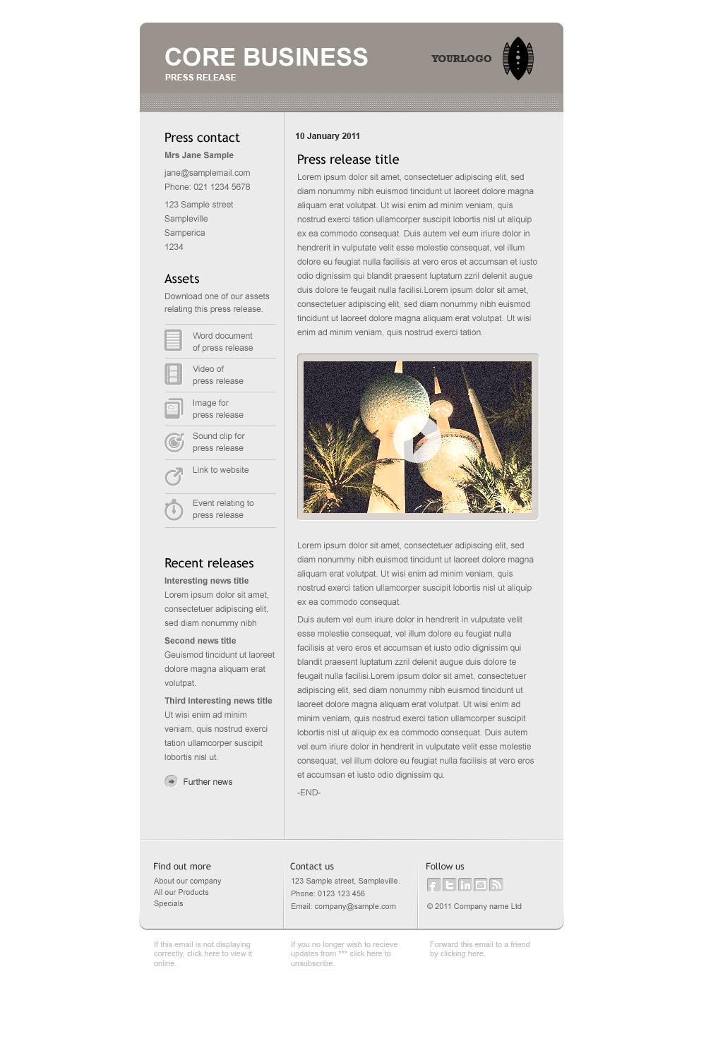 Core Business - Press release template