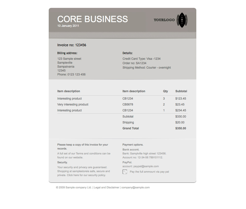 Core Business - Invoice template