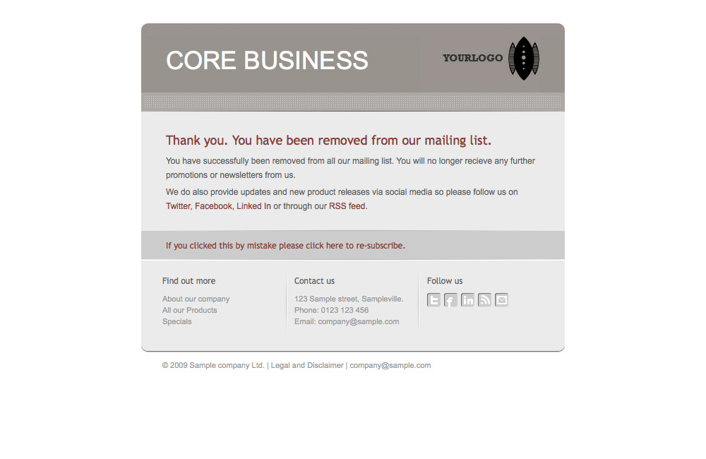 Core Business - Unsubscribe landing page