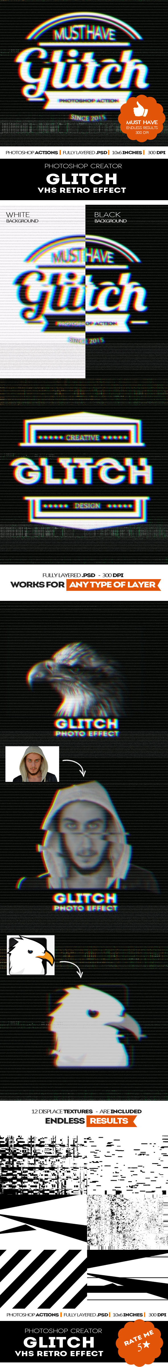 GraphicRiver Glitch VHS Corrupt Image Effect Photoshop Actions 11939518