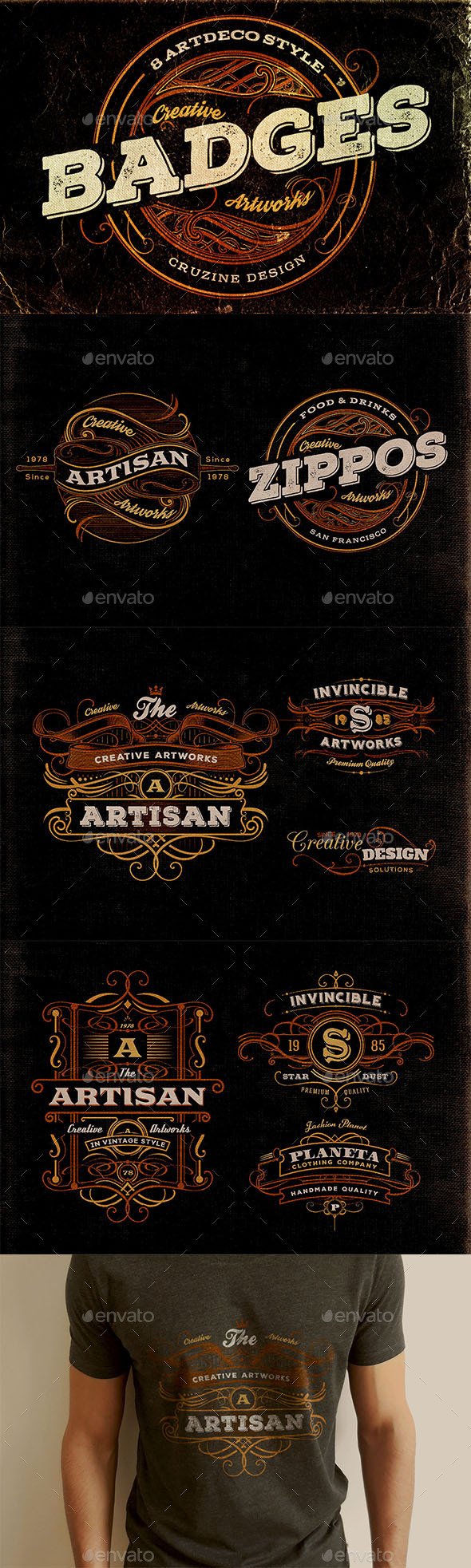 GraphicRiver 8 Artdeco Style Badges 11941033