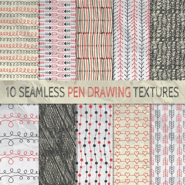 GraphicRiver Pen Drawing Seamless Patterns on Crumpled Paper 11941813