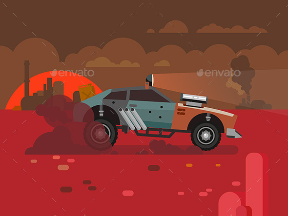 GraphicRiver Driving Fast Retro Car Through Desert 11942225