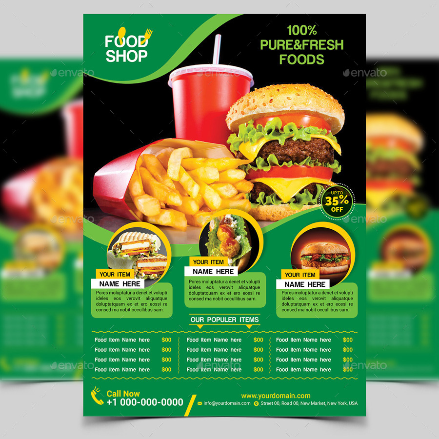 Food Flyer Template by aam360 – Food Flyer Template