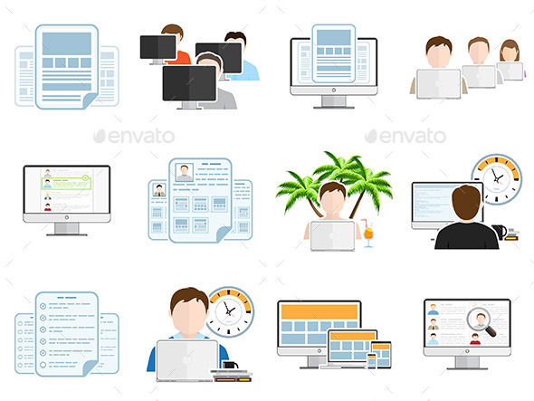 GraphicRiver Freelance Business Flat Icons Set 11942651