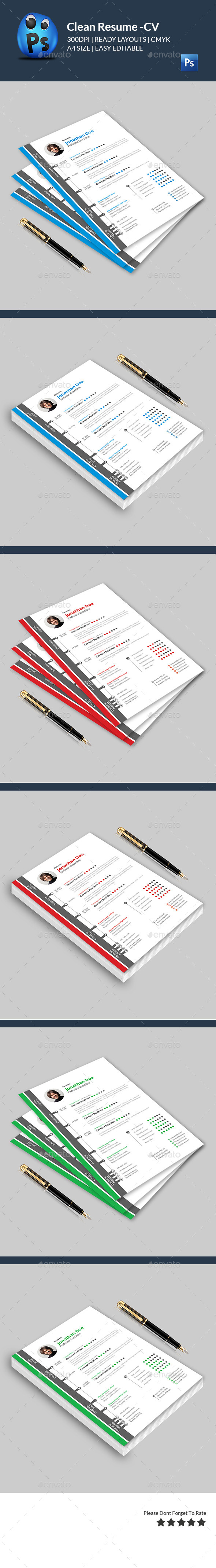 GraphicRiver Clean Resume CV 11942951