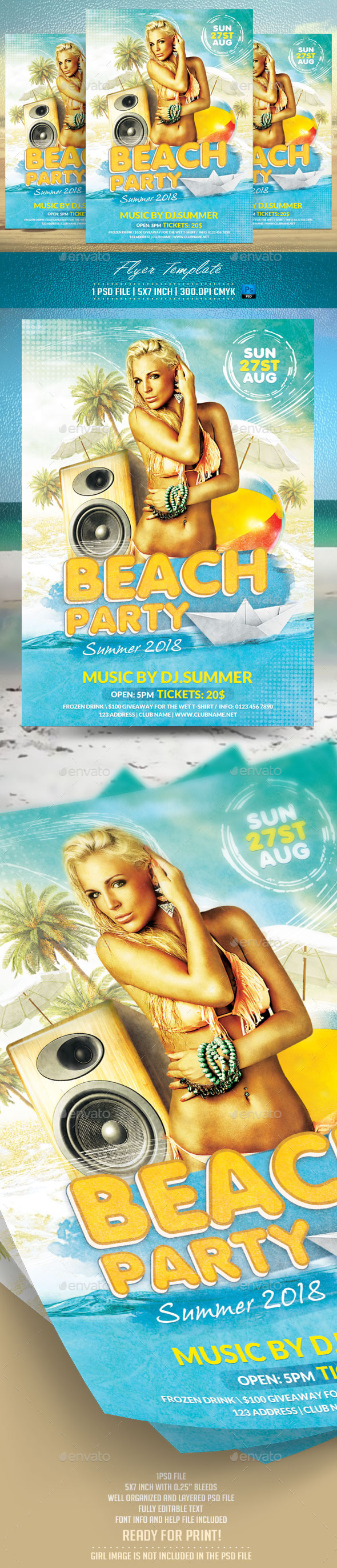GraphicRiver Beach Party Flyer Template 11943227