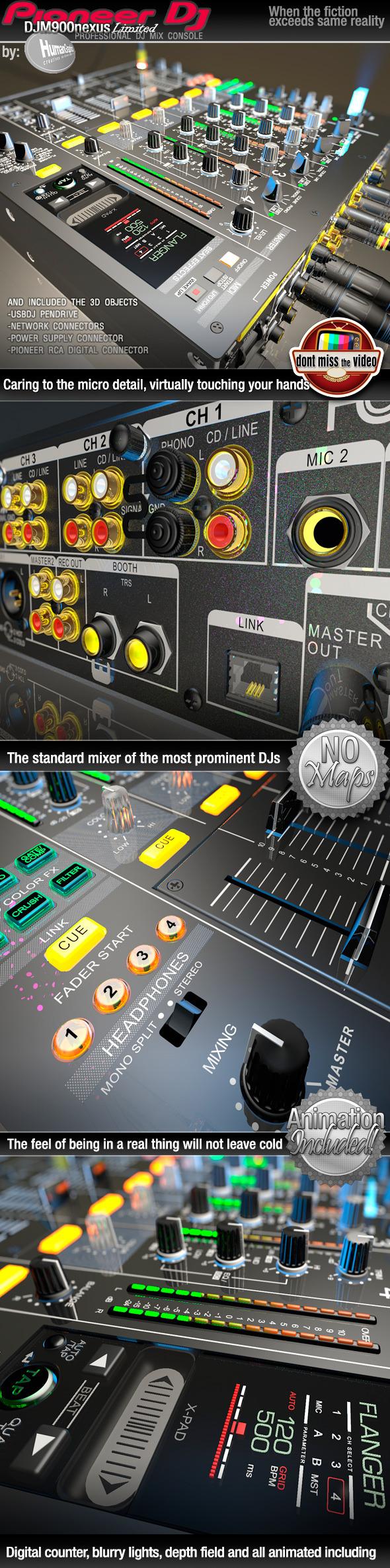 3DOcean Realistic Pro DJ Mixer Pioneer DJM900nexus Limited 11943568