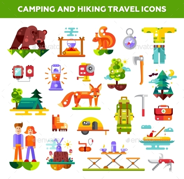 GraphicRiver Modern Flat Design Illustration Of Camping 11943837