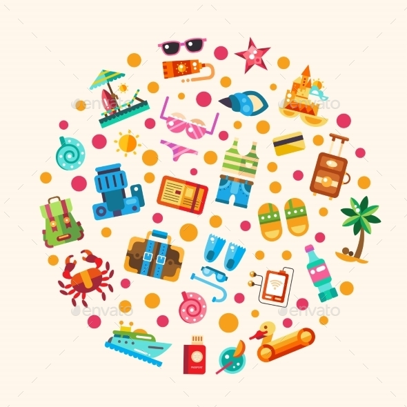 GraphicRiver Set Of Flat Design Seaside Travel Vacation Icons 11943839