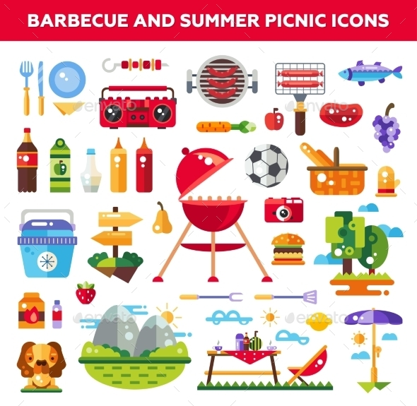 GraphicRiver Set Of Flat Design Barbecue And Summer Picnic 11943842