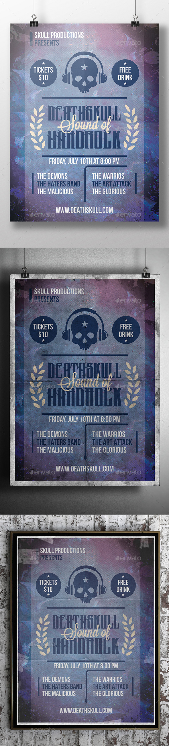 GraphicRiver Skull Music Flyer Template 11944195