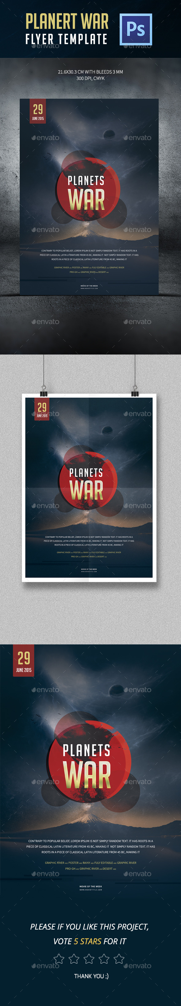 GraphicRiver Planets War Poster Template 11944516