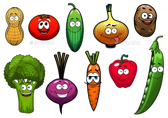 GraphicRiver Healthy Fresh Cartoon Vegetables Characters 11944641