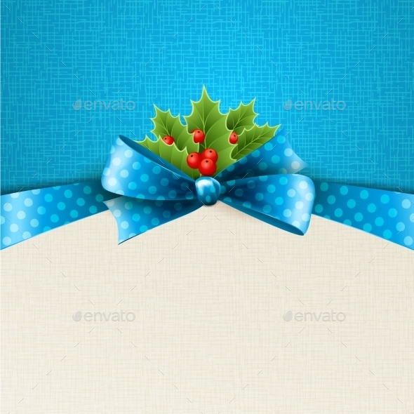 GraphicRiver Christmas Background with Bow and Holly 11945610