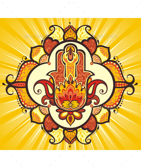 GraphicRiver Hand Hamsa with Ethnic Ornaments 11946719