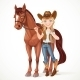 Teen Girl Cowboy Holds the Reins - GraphicRiver Item for Sale