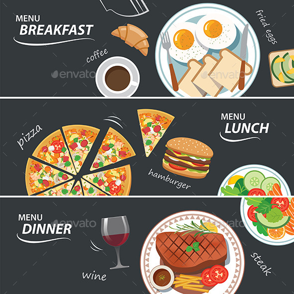 GraphicRiver Set of Breakfast Lunch and Dinner Web Banner 11947653