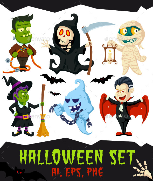 GraphicRiver Halloween Flat Cartoon Characters Set 11947730